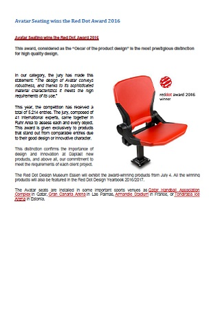 Avatar Seating wins the Red Dot Award 2016