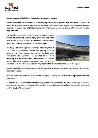 Daplast has supplied CRM and CR5 stadium seats at this stadium