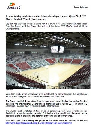 Avatar Seating ready for another international sports event: Qatar 2015 IHF Men's Handball World Championship