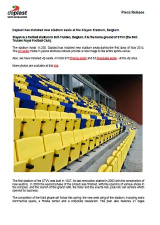 Daplast has installed new stadium seats at the Stayen Stadium, Belgium.