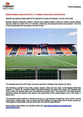 Daplast stadium seats for the FIFA U-17 Women´s World Cup Costa Rica 2014