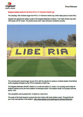 Daplast stadium seats for the 2014 FIFA U-17 Women\'s World Cup