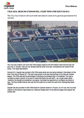 CRUZ AZUL MEXICAN STADIUM WILL COUNT WITH CRM SEATS IN 2014