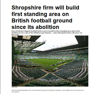 Shropshire firm will build first standing area on British football ground since its abolition