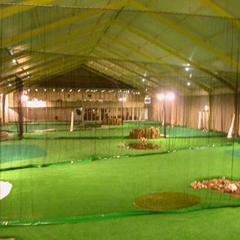 Indoor golf with artificial turf