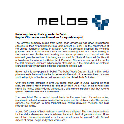 Melos supplies synthetic granules to Dubai Meydan City Creates new dimensions for equestrian sport