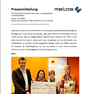 Die Melos GmbH unterstützt das Kinder- und Jugendhospiz in Bielefeld-Bethel