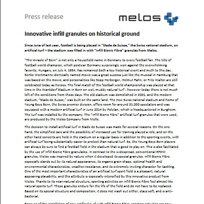 Innovative infill granules on historical ground