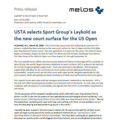 Press Release US Open Laykold EN